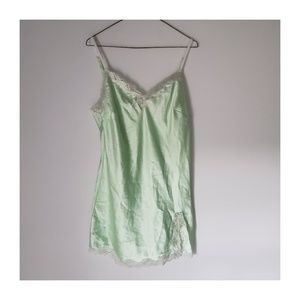 Victoria's Secret Green Slip with Sparkly Lace